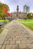 Vista vertical da câmara municipal em Worcester, Massachusetts fotografia de stock