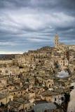 Vista vertical de la ciudad de Matera imagen de archivo