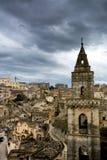 Vista vertical de la ciudad de Matera imágenes de archivo libres de regalías