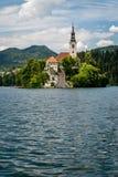 Vista vertical de la iglesia del lago Bled, Eslovenia. Fotos de archivo libres de regalías