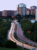 Vista vertical del tráfico de ciudad foto de archivo libre de regalías