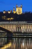 Vista verticale del fiume Saona e della basilica Immagini Stock
