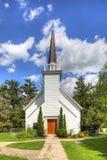 Vista verticale della cappella del Mohawk in Brantford, Canada fotografia stock