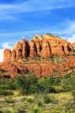 Vista verticale di roccia rossa famosa in Sedona Fotografie Stock Libere da Diritti
