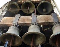 Vista vicina alle campane di chiesa, parte del carillon Fotografia Stock Libera da Diritti