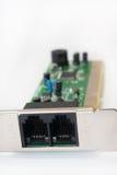 Vista vicina degli input del modem Immagini Stock Libere da Diritti