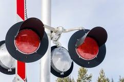 Vista vicina dei segnali di incrocio della ferrovia Fotografia Stock Libera da Diritti