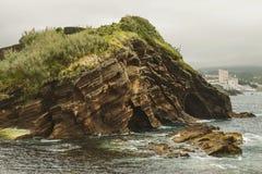 Vista vicina della formazione rocciosa in Ponta Delgada, Azzorre fotografia stock
