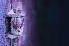 Vista vicina di vecchio bullone rustico nell'inverno Fotografia Stock