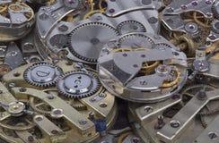 Vista vicina di vecchio meccanismo degli orologi Fotografia Stock