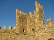 Vista vicina sulla parte della fortezza di Genova Fotografia Stock