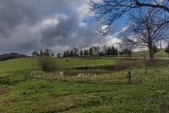 Vista vicino al villaggio di Horni Studenky nell'area di Zabreh fotografia stock