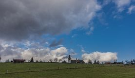 Vista vicino al villaggio di Horni Studenky nell'area di Zabreh Fotografie Stock