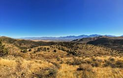 View of the Salt Lake Valley and Wasatch Front desert Mountains in Autumn Fall hiking Rose Canyon Yellow Fork, Big Rock and Waterf Royalty Free Stock Image