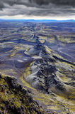 Vista vulcanica del paesaggio della catena dei crateri di Lakagigar, Islanda Fotografia Stock Libera da Diritti