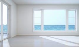 Vista vuota del mare della stanza con il percorso di ritaglio per fondo Immagini Stock