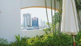 Vista vuota della città e della finestra dalla finestra Fotografia Stock