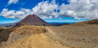Vistas ao longo da fuga do cruzamento alpino de Tongariro, zelo novo imagem de stock
