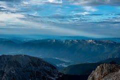 Vistas bonitas do parque nacional de Triglav - Julian Alps, Eslovênia Imagem de Stock