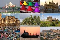 Vistas coloridas de India em uma colagem fotos de stock royalty free