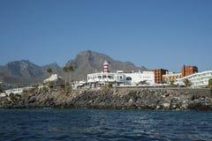 Vistas costeras de los dos puntos de Puerto, Costa Adeje, islas Canarias, España foto de archivo