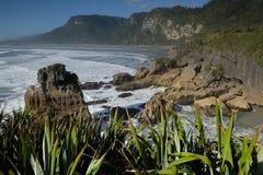 Vistas costeras y rocas de Nueva Zelanda d Y fotos de archivo libres de regalías