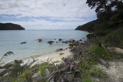 Vistas costeras y rocas de Nueva Zelanda d Y imágenes de archivo libres de regalías