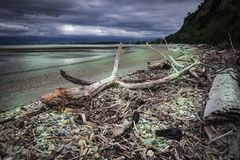 Vistas costeras y rocas de Nueva Zelanda d Y fotos de archivo