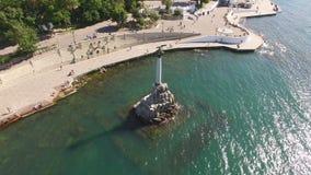 Vistas da avaliação aérea do monumento de Sevastopol-um aos navios inoperantes filme