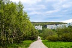 Vistas da cidade provincial no parque Imagens de Stock Royalty Free