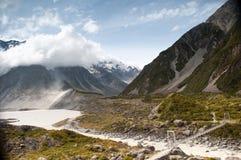 Vistas da geleira Nova Zelândia de Tasman Fotos de Stock Royalty Free