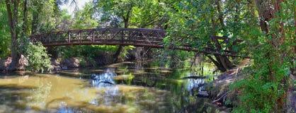 Vistas da ponte da trilha de Jordan River Trail Pedestrian e do trem com árvores circunvizinhas, azeitona de russo, cottonwood e  fotografia de stock royalty free