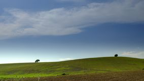 Vistas das terras f?rteis dos montes de rolamento na estrada entre Arcos de la Frontera e o EL Bosque no limite do fotografia de stock