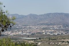 Vistas de los pueblos de Monfortel del Cid y de Aspe Fotografía de archivo
