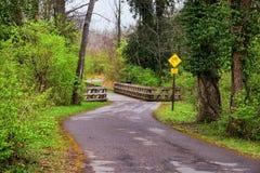 Vistas de puentes y de caminos a lo largo de Shelby Bottoms Greenway y de los rastros naturales del ataque frontal del r?o Cumber fotografía de archivo