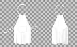 Vistas delanteras y traseras del delantal blanco de la cocina Ropa protectora Foto de archivo libre de regalías
