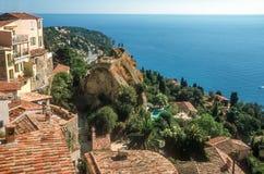 Vistas do mar da vila de Roquebrune Foto de Stock Royalty Free
