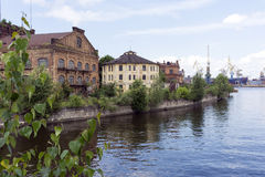 Vistas do rio da ponte de Ekateringofsky, St Petersburg, ANC Fotografia de Stock Royalty Free