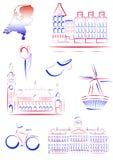 Vistas e símbolos dos Países Baixos ilustração stock