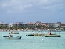 Vistas em torno de Aruba - hotéis Imagem de Stock