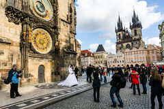 Vistas exteriores das construções em Praga foto de stock