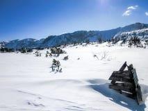 Vistas impresionantes de las montañas alpinas en Austria Esquís de madera del tenedor derecho fotos de archivo