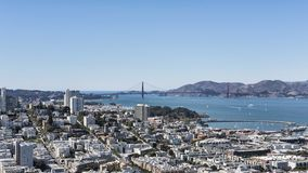 Marina district, San Francisco, California. Vistas of the Marina district, and Golden Gate bridge from the vantage point of Coit Tower, situated in Telegraph Royalty Free Stock Photos
