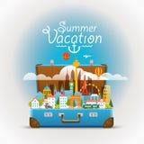 Vistas mundialmente famosas de Dirrefent Férias de verão ilustração stock