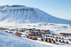 Vistas panorámicas de Longyearbyen, Spitsbergen (Svalbard) noruega Fotografía de archivo