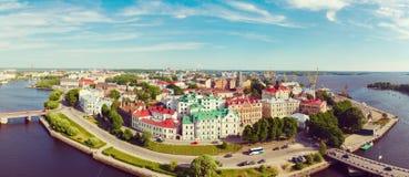 Vistas panorâmicas da altura da fortaleza de Vyborg Fotografia de Stock Royalty Free