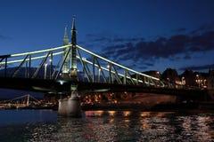 Vistas panorâmicas de pontes da noite através de Danúbio com iluminação imagens de stock royalty free