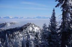 Vistas que negligenciam o vale nuvem-coberto e picos que espreitam acima dele no recurso do peixe branco foto de stock