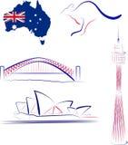 Vistas y símbolos de Australia stock de ilustración