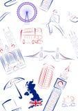 Vistas y símbolos de Gran Bretaña - inconsútiles Imagen de archivo libre de regalías